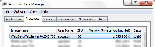 Task manager showing 1.3GB memory utilization with tracing