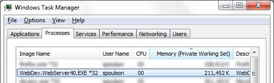 Task manager showing 200MB memory utilization without tracing